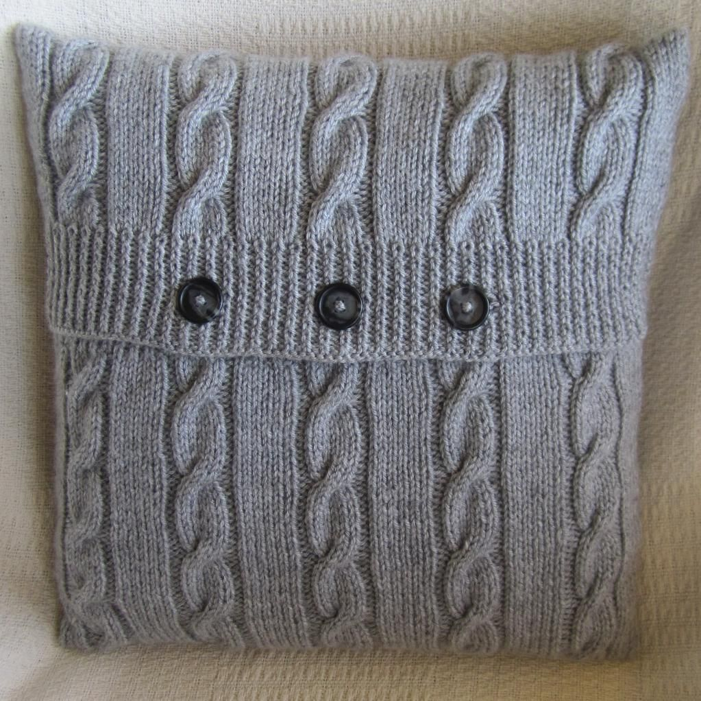 Knitting Pillows For Beginners : Classic cable quot x pillow cover knitting patterns