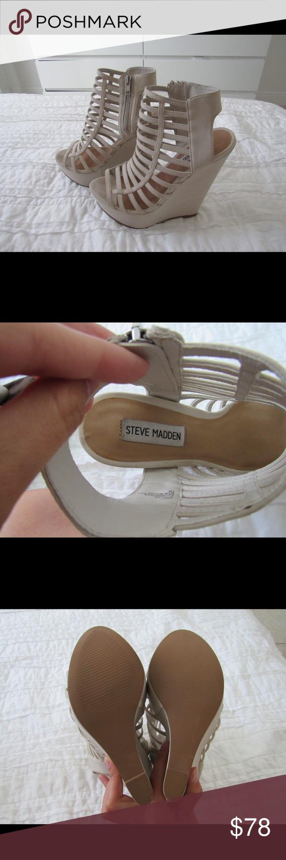 Steve Madden Wedges Steve Madden bone white wedges in size 8 1/2. True in size and never worn! Steve Madden Shoes Wedges