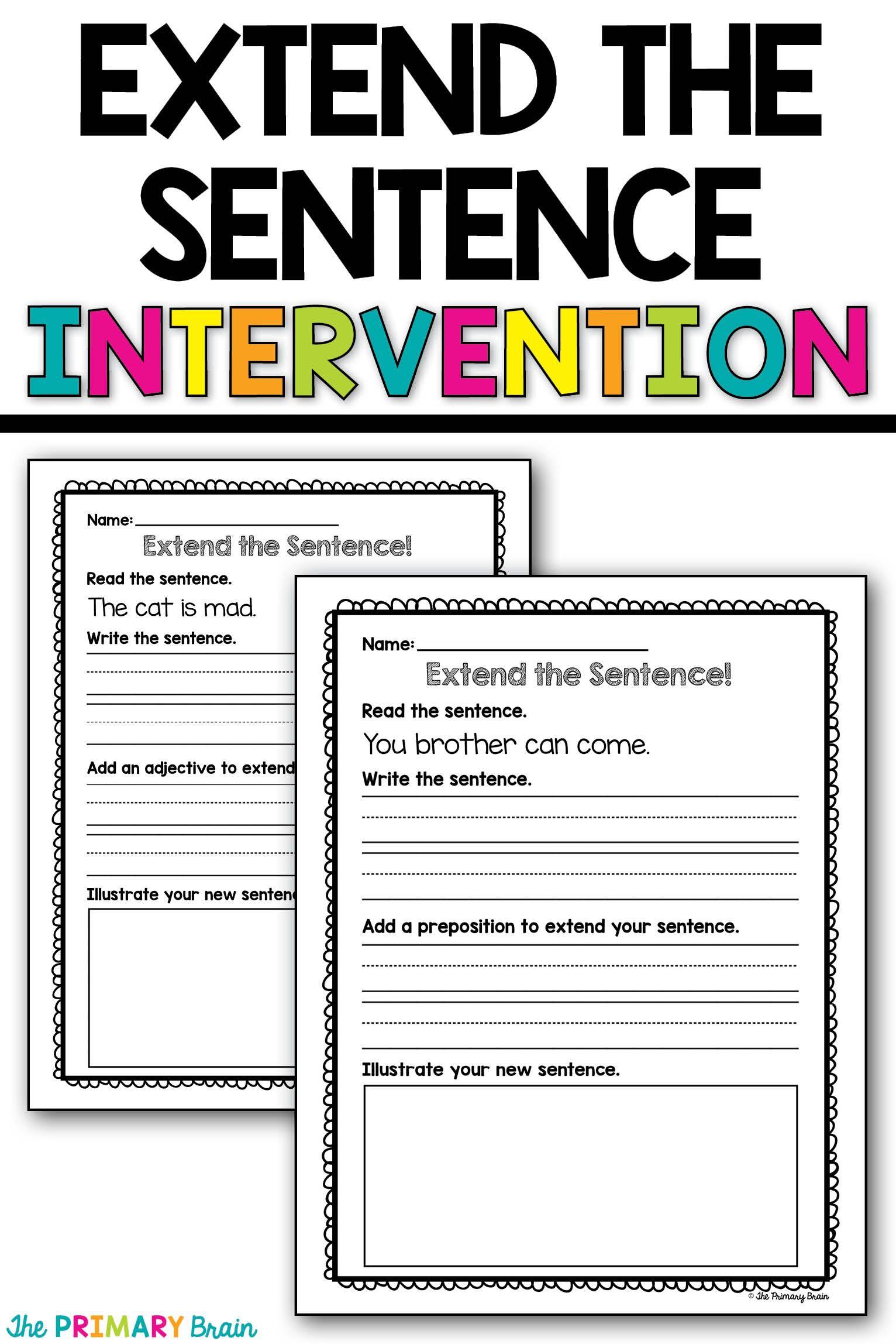extend a sentence writing intervention activity first grade language arts sentence writing. Black Bedroom Furniture Sets. Home Design Ideas