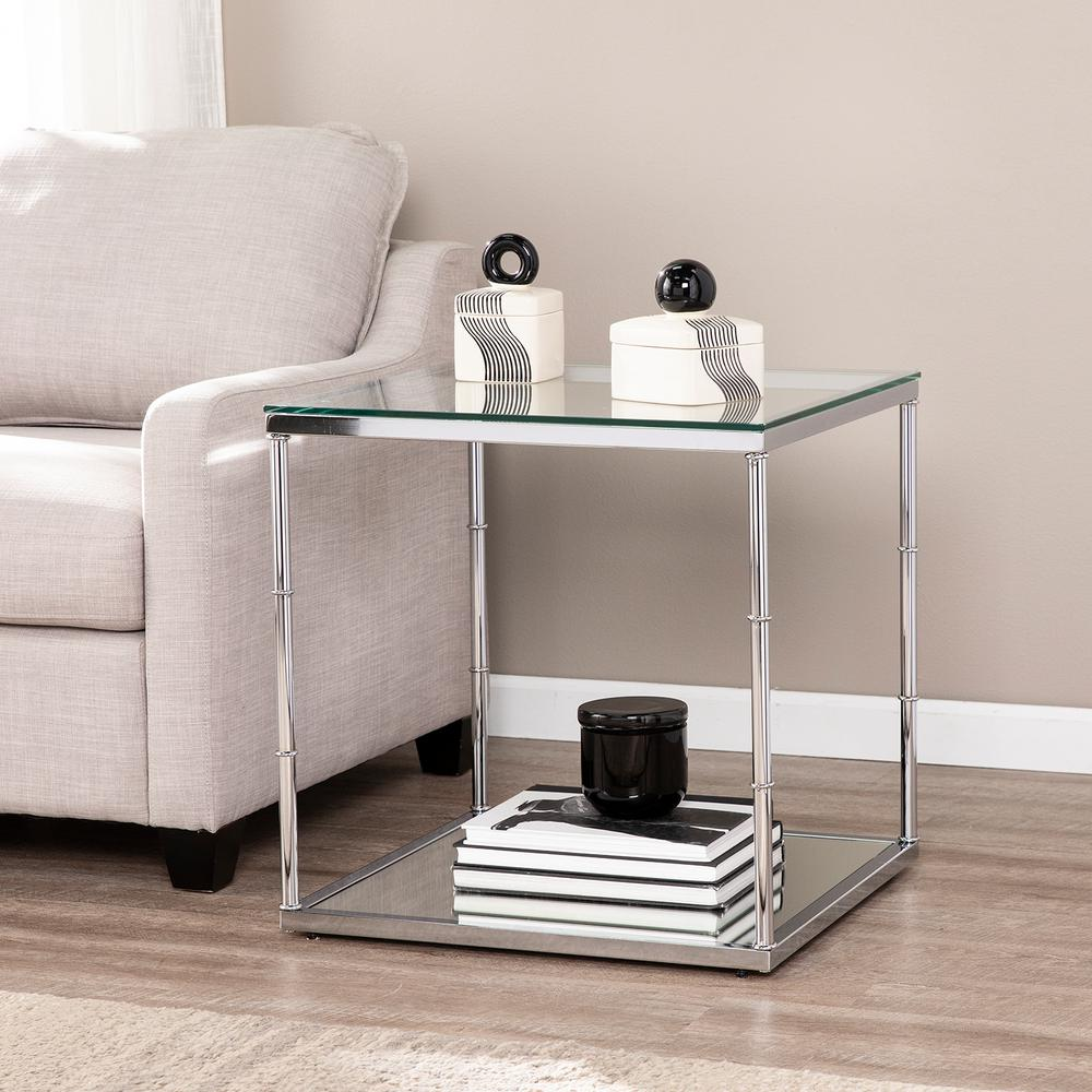 Southern Enterprises Soto Chrome Glass End Table With Mirrored