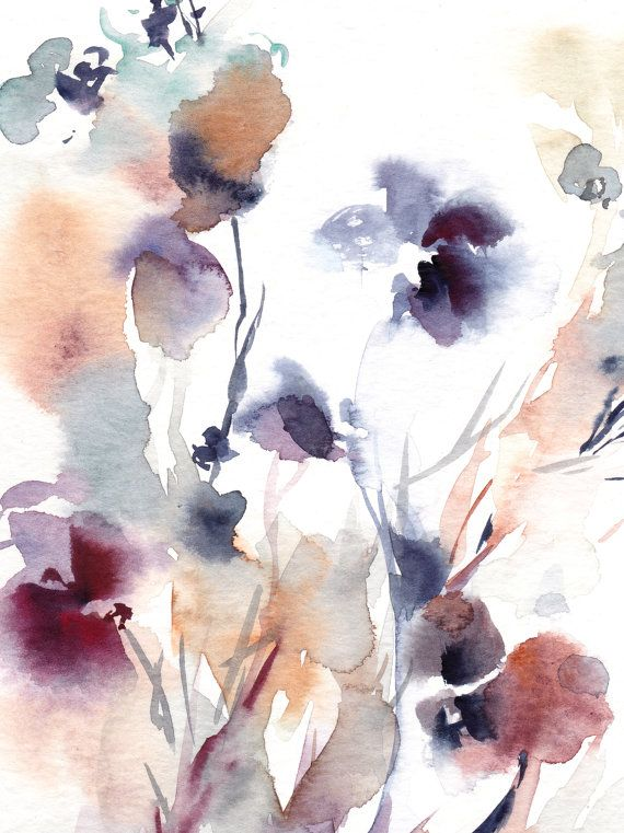 Abstract Floral Watercolor Painting Original Watercolor Painting