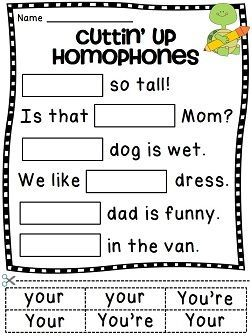 Homophones Worksheets (26 fun homophone activity sheets)