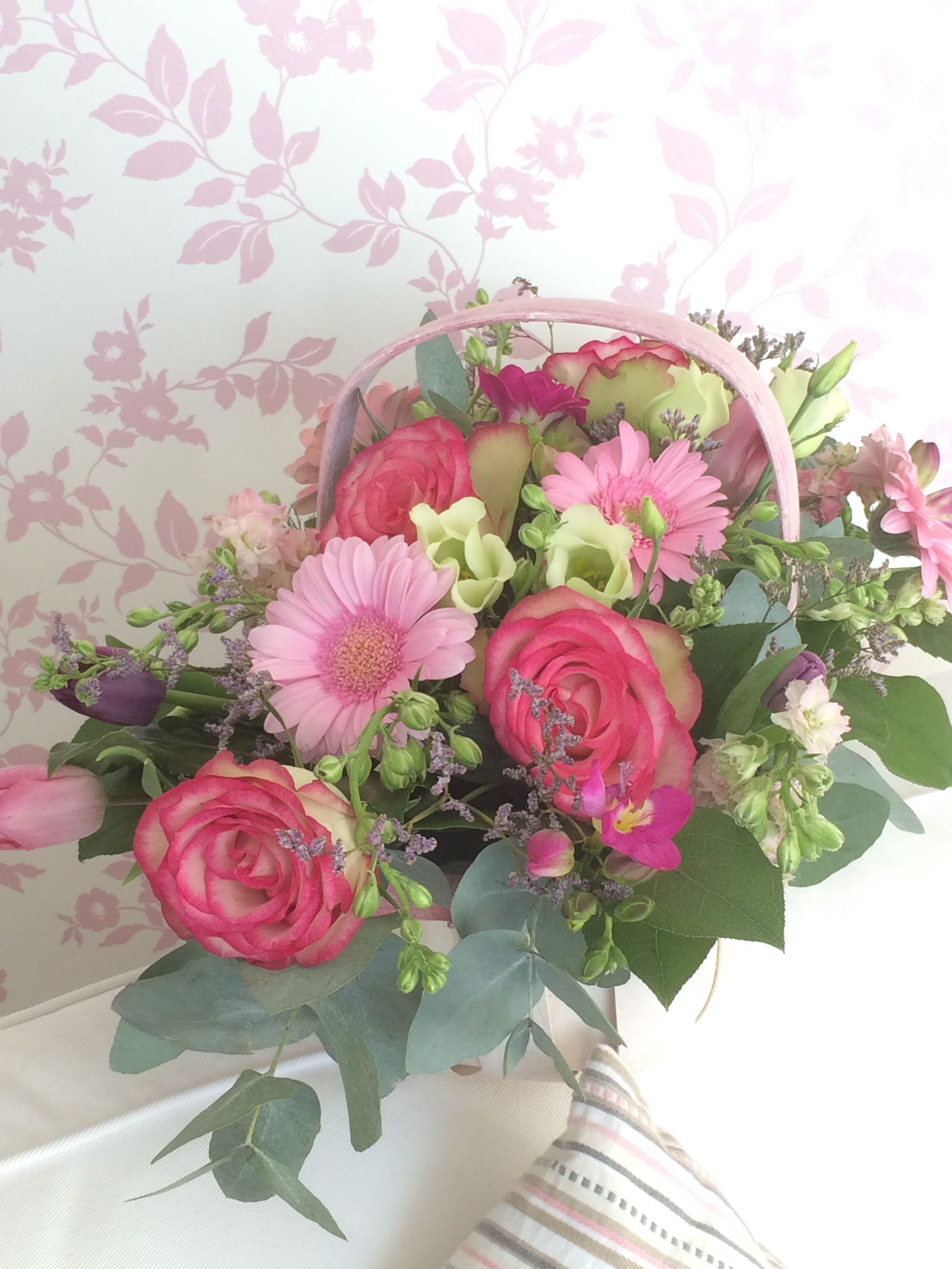 Beautiful Spring Fresh Basket Of Pink Roses And Seasonal Flowers For