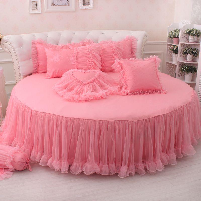 princesse de mari e en satin jacquard dentelle 4 pe as jupe de lit ensemble de literie pour lit. Black Bedroom Furniture Sets. Home Design Ideas