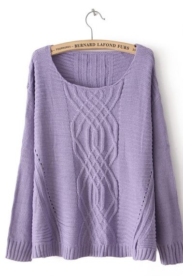 So PRETTY !!! Lavender Geometric Cable-knit Vent Hem Sweater #lavender #knit #sweater