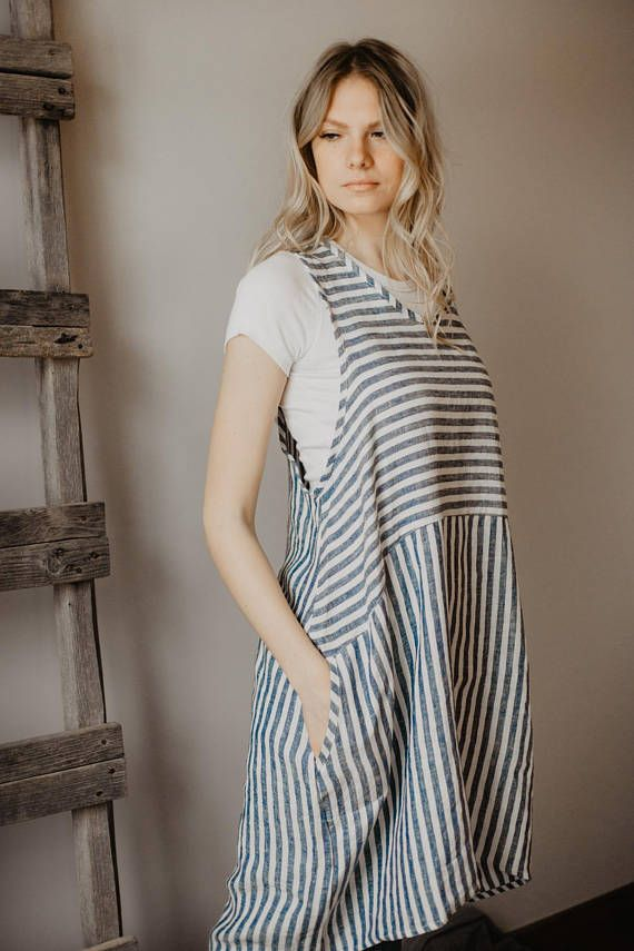 c53e449c215 Linen Jumper Dress, Linen Tunic Dress, Linen Smock , Sundress, Plus Size  Dress, Linen Pinafore Loose Maternity Overalls Custom order