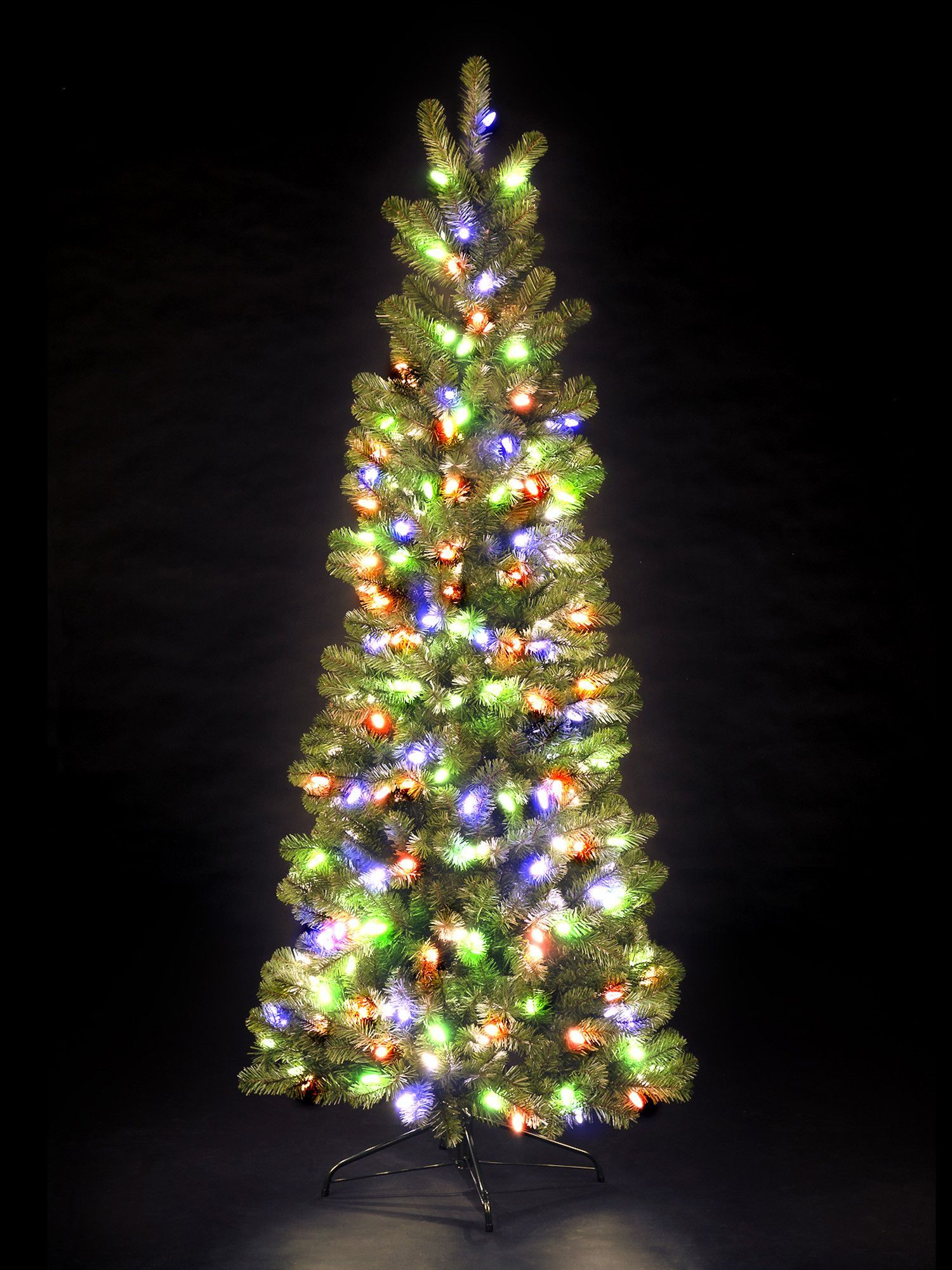 Snowtime 7 Green Pre Lit Pencil Pine Artificial Christmas Tree With