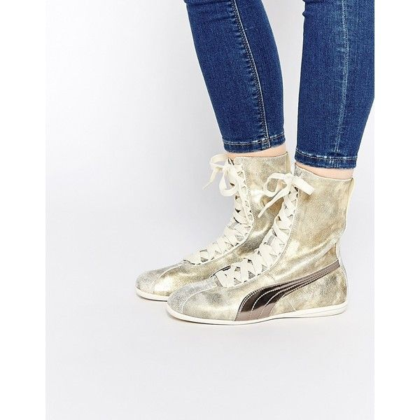 Puma Eskiva Hi Gold Sneakers ($73) ❤ liked on Polyvore featuring shoes, sneakers, cream, high top shoes, metallic sneakers, lace up high top sneakers, metallic gold sneakers and metallic gold shoes