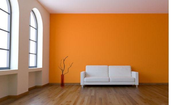 Entzuckend Wände Streichen U2013 Ideen Für Das Wohnzimmer   Wand Farbe Streichen Idee  Wohnzimmer Orange Gelb Weiß