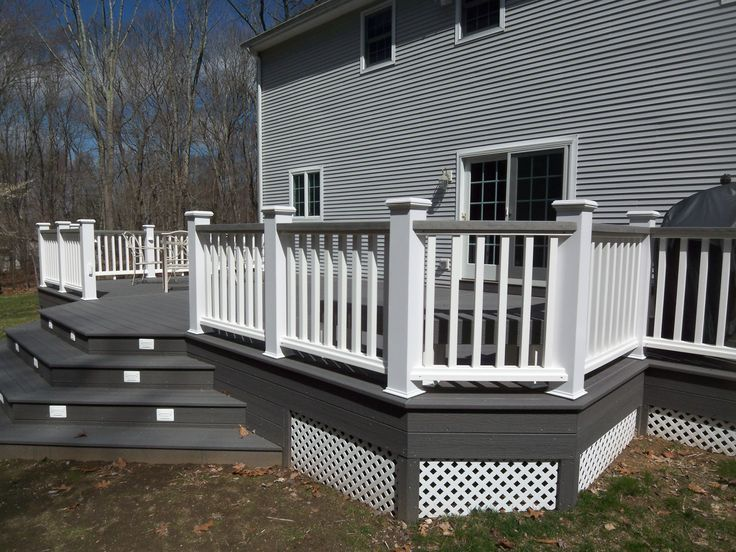 white and gray wood porch