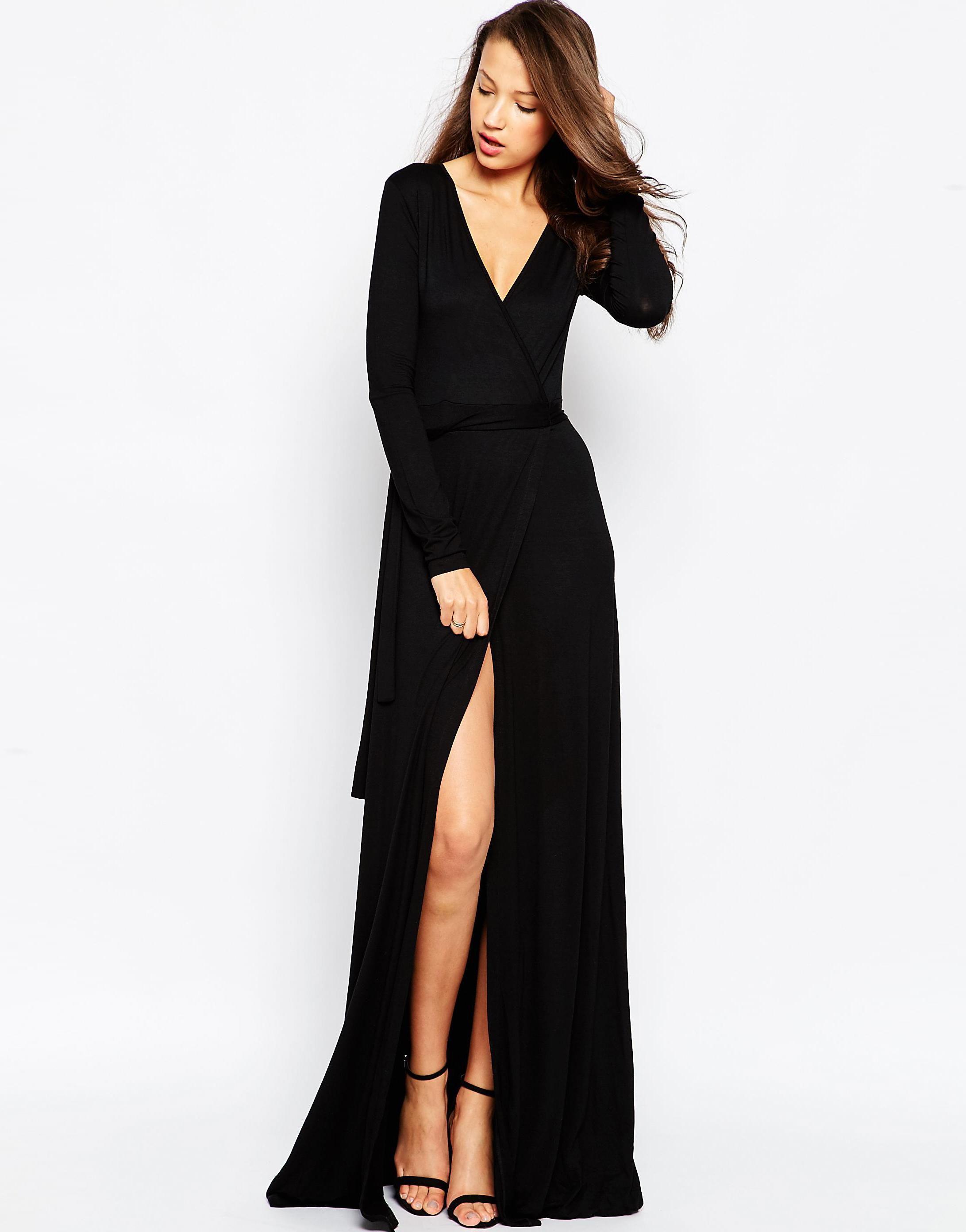Us Asos Com Taller Than Your Average Ttya Thigh Split Wrap Maxi Dress Candice Blackburn 5655906 Black Maxi Dress Maxi Wrap Dress Dresses [ 2784 x 2183 Pixel ]