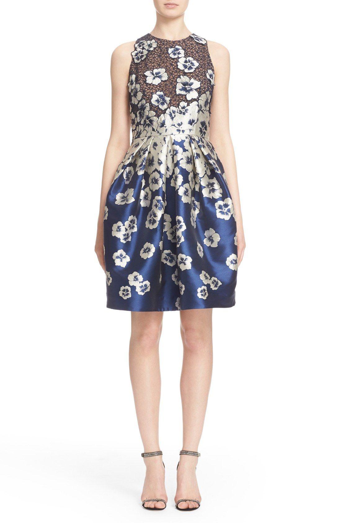 Carmen Marc Valvo Floral Appliqué Cutaway Cocktail Dress | Nordstrom ...