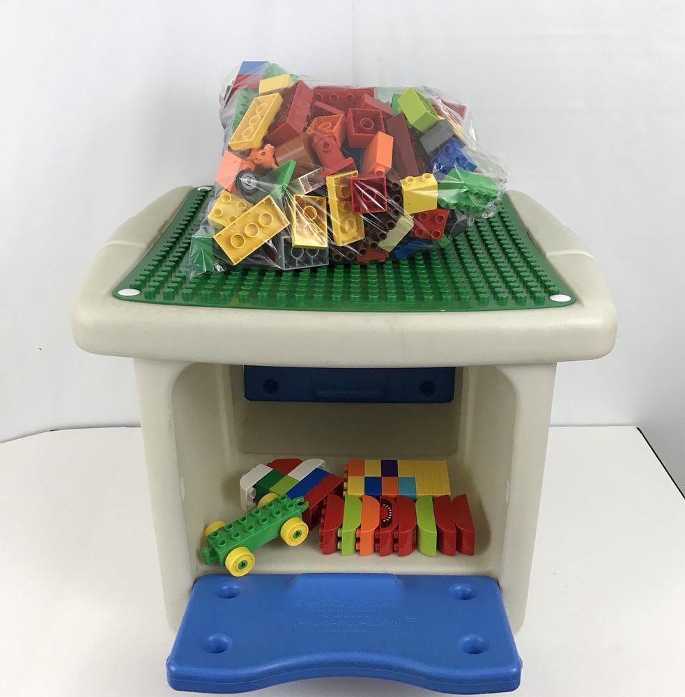 Step 2 Duplo Lego Mega Block Table With 130+ Blocks Childs Building Storage  #Step2
