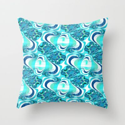 Fractal Plaid in blue Throw Pillow by  RokinRonda - $20.00