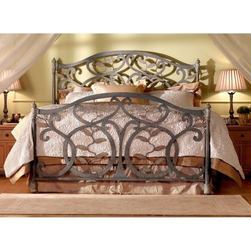 Laurel Iron Bed by Wesley Allen - Textured Copper Moss Finish