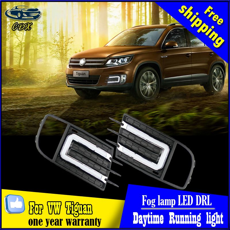 Free Shipping 2013 2015 Vw New Tiguan Daytime Running Light Fog Light High Quality Led Drl For New Vw Tiguan Running Lights Car Lights Daytime