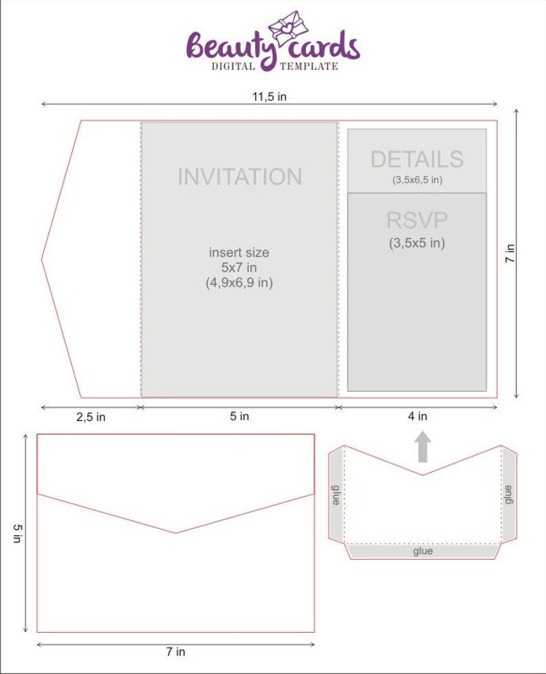 Most templates will have graphics and art on it. Diy Classic Pocket Wedding Invitation Template 5x7 Tri Fold Etsy Pocket Wedding Invitations Pocket Fold Wedding Invitations Square Wedding Invitations