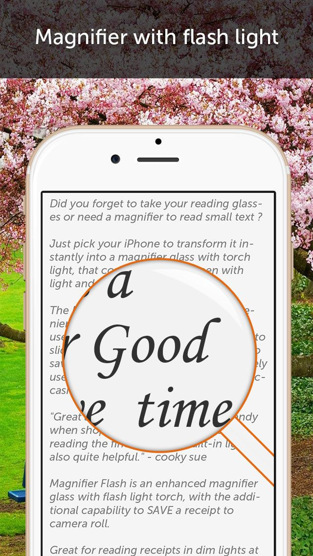 Magnifier Flash A magnifying glass with light on App