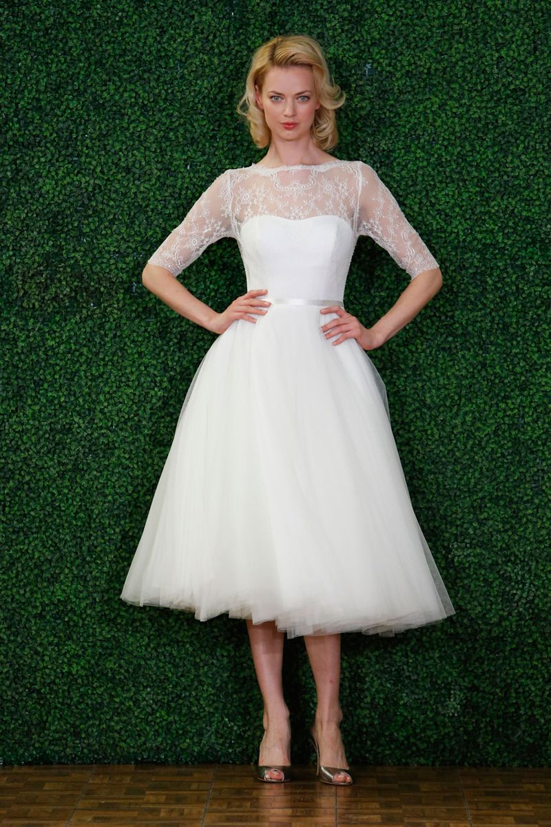 The best short wedding dresses from fall 2018 bridal week 20 gorgeous short wedding dresses short designer wedding gowns elle watters junglespirit Choice Image
