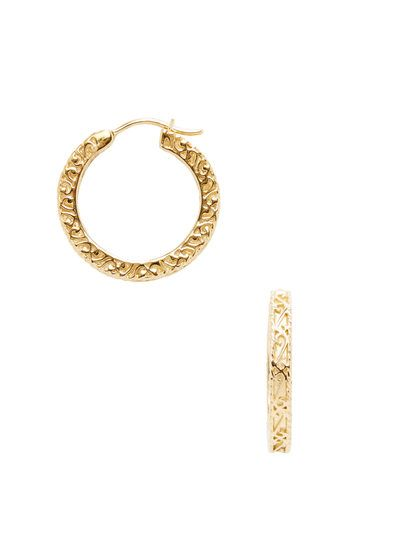 Small Gold Filigree Hoop Earrings By Delatori At Gilt