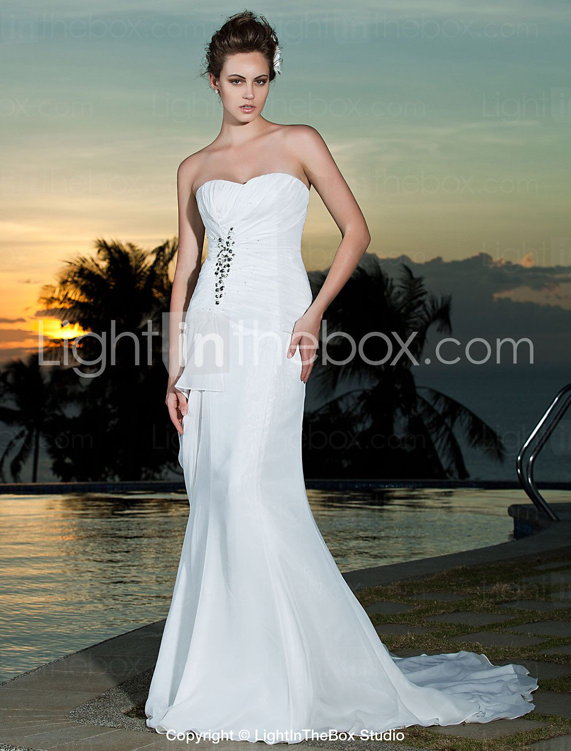Chiffon wedding dresses  SheathColumn Strapless Sweetheart Court Train Chiffon Wedding Dress