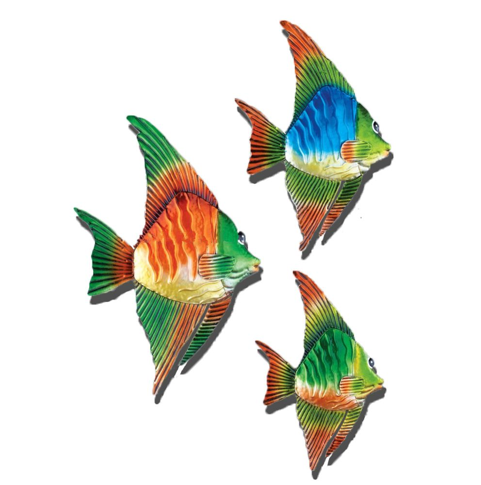 Metal nautical tropical fish wall art set of 3 fish