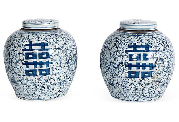 Lidded Porcelain Jars, Pair I, Retail $1440, Sale $719