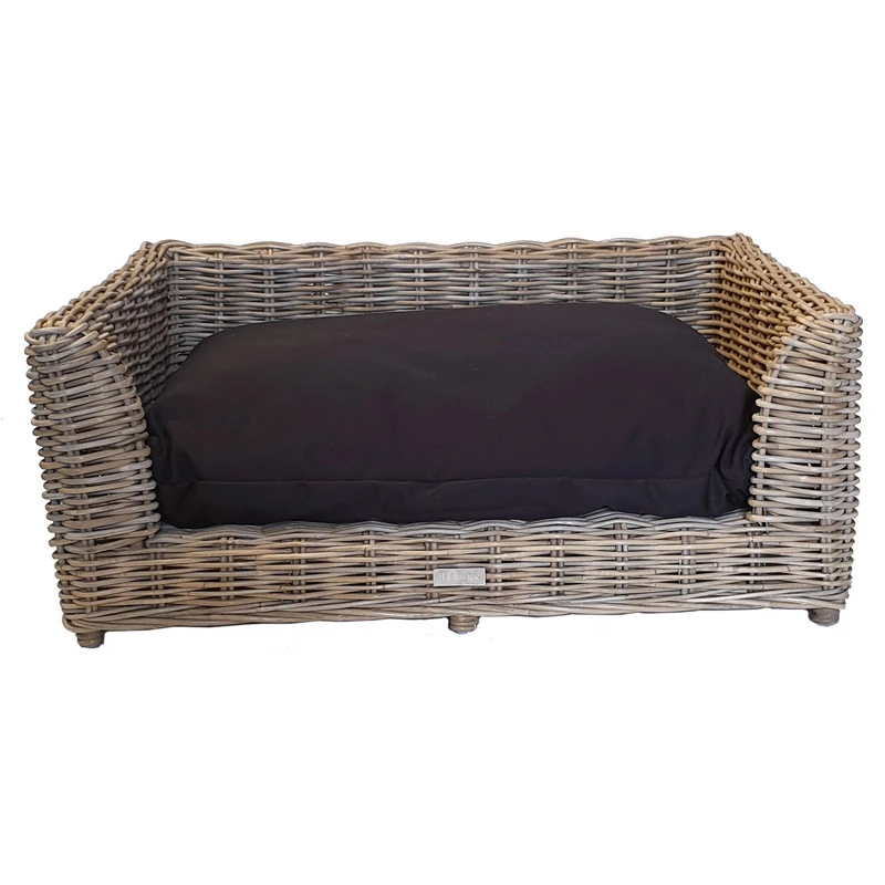Medium Oblong Grey Raised Dog Bed with Cushion Dog bed