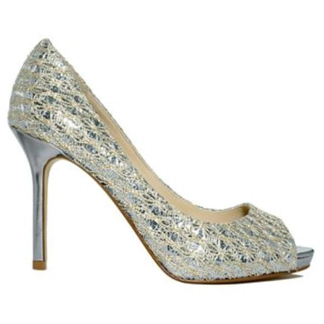 Silver/ivory wedding shoes