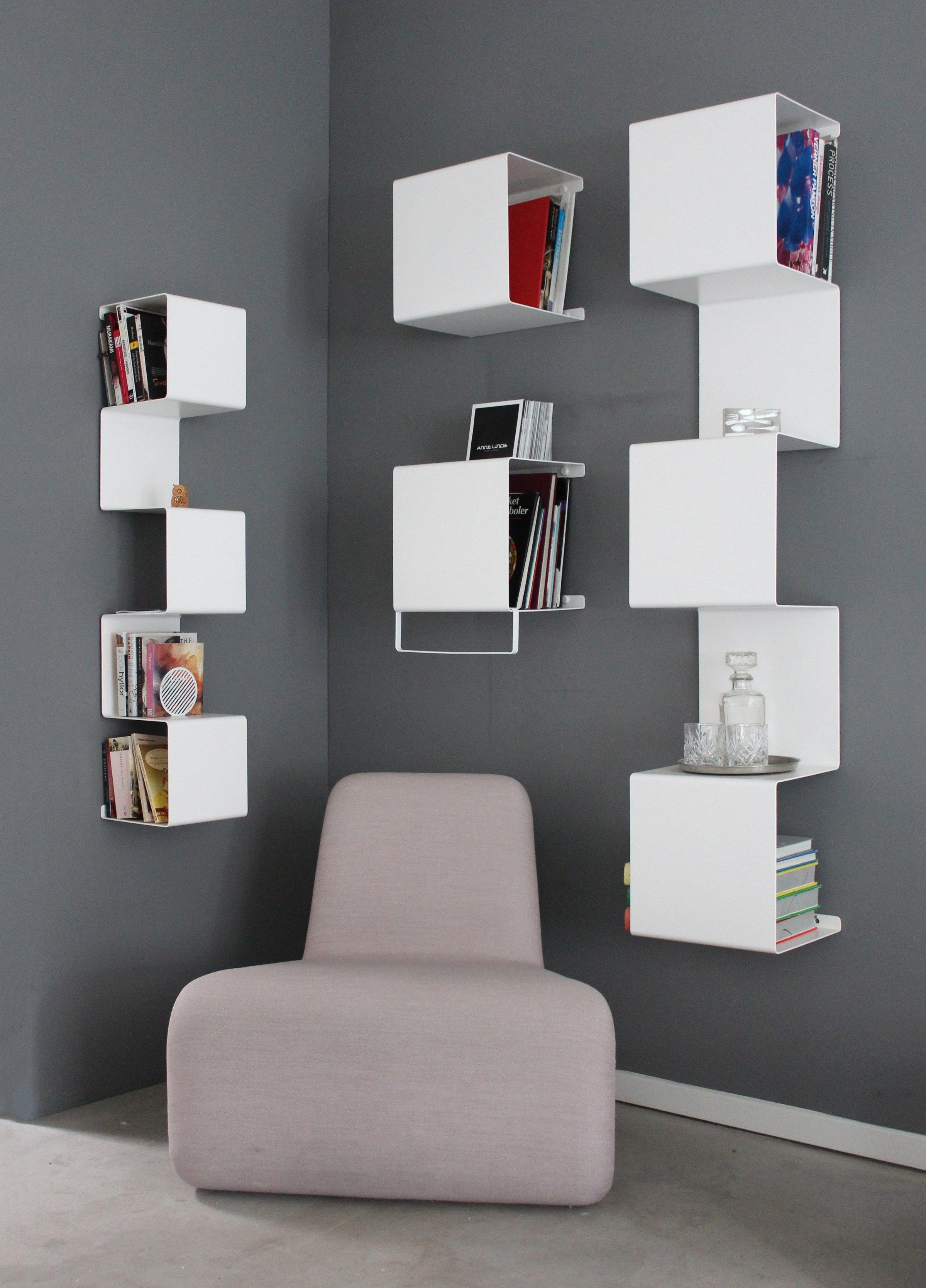 Wall Mounted Powder Coated Aluminium Bookcase Showcase 4 By Anne Linde Design Anne Linde Bookshelf Design Bookcase Design Wall Shelves Design