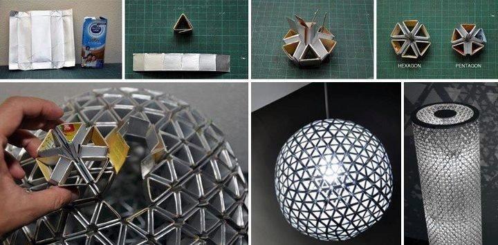 Dica sustentável para fazer luminárias com caixinhas