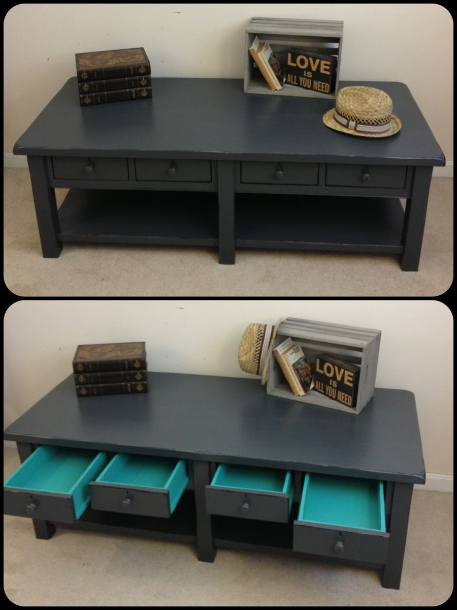 Painting furniture ideas distressed - Rustic Chic Charcoal Grey Painted Coffee Table By Furniture Alchemy Distressed Table Turquoise And