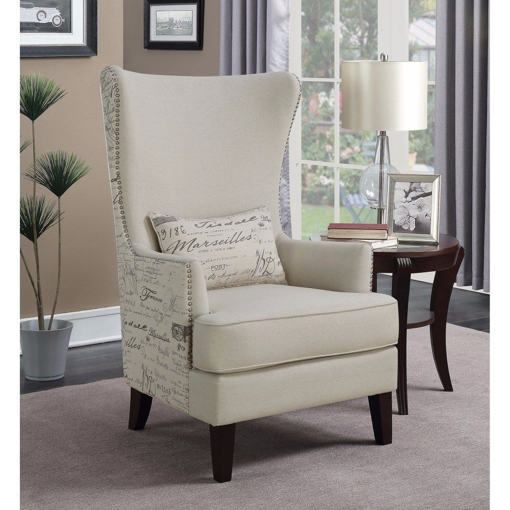 Imposingly Opulent Accent Chair Cream Ivory Benzara Fabric