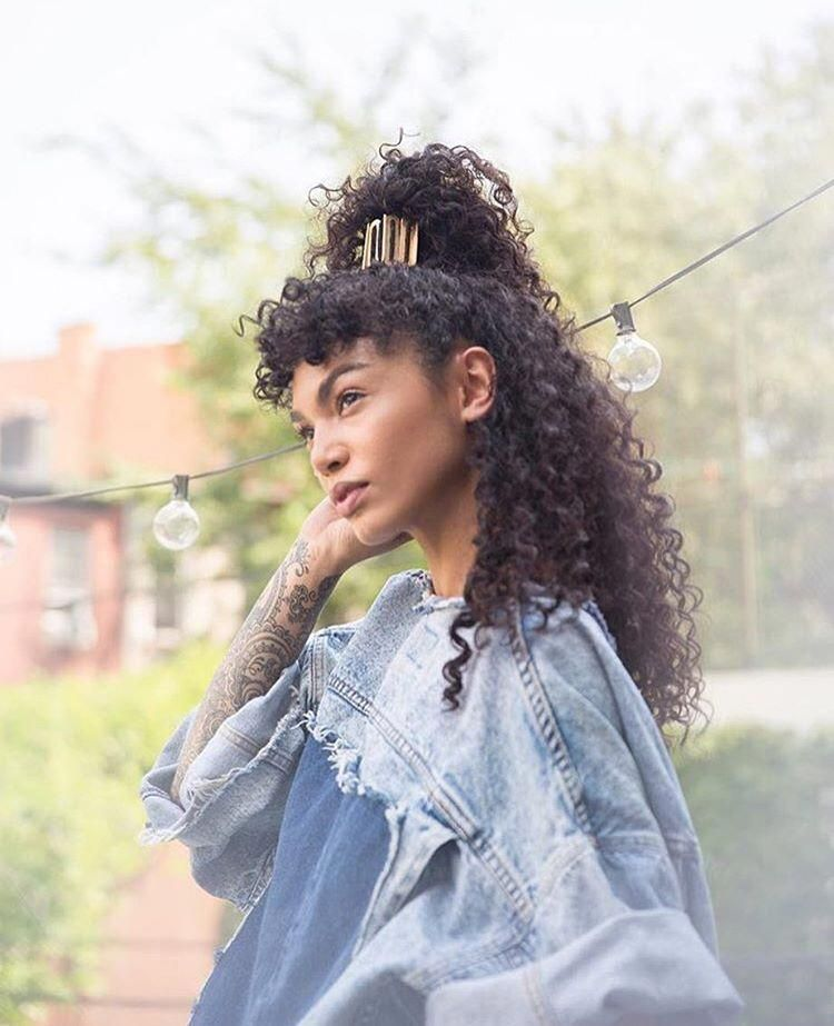 23 Chic Choppy Bangs for Women That Are Popular for 2019 this Instagram photo by @sophia_roe • curly hair. Waves. Curly bangs. Half up half down.