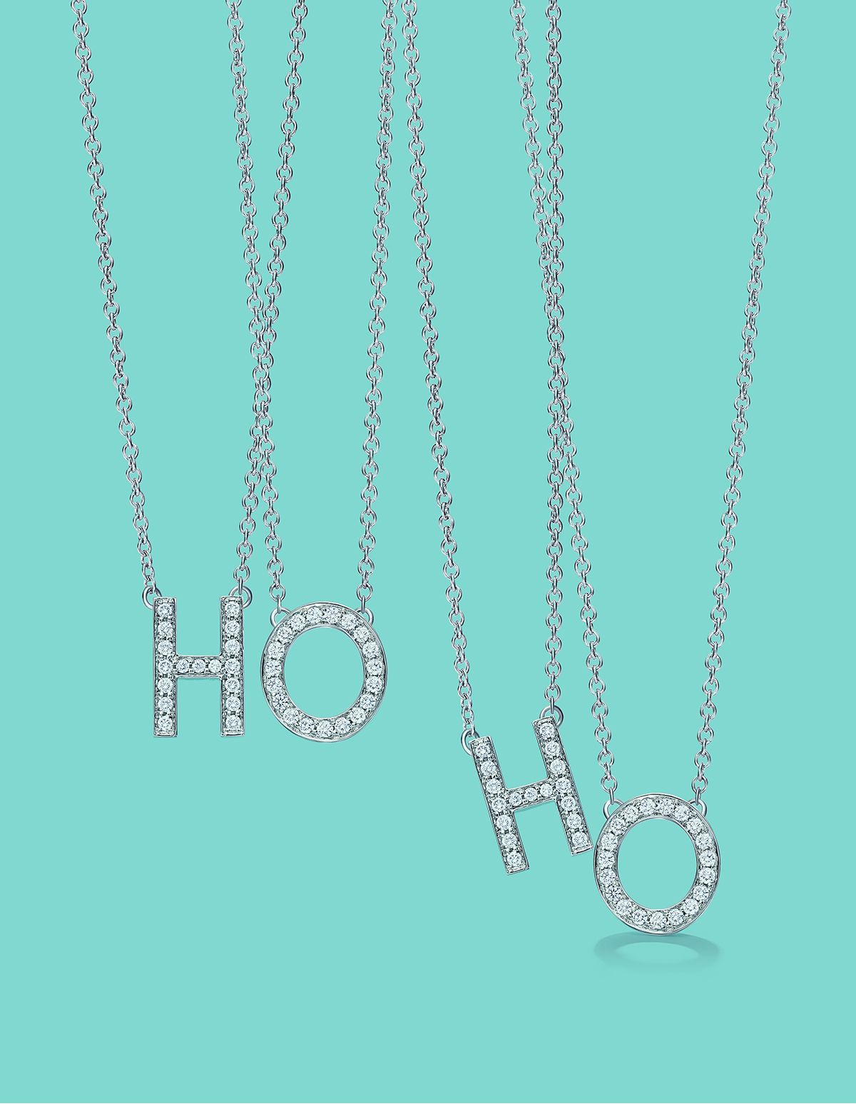 Ho Ho How Close Is Christmas Tiffany Letters Pendant In Platinum