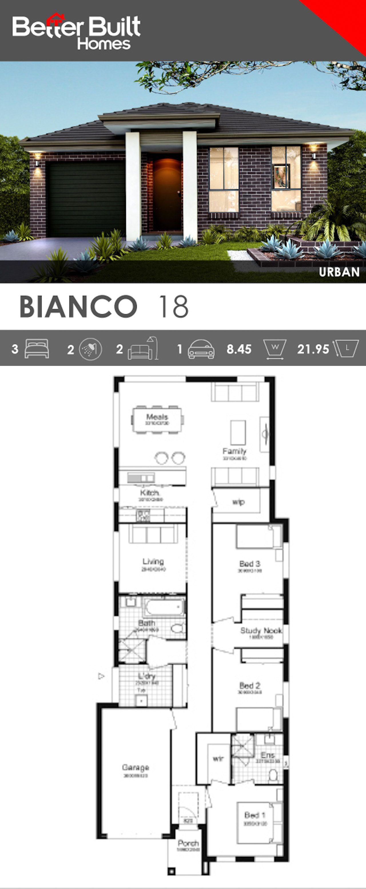 Single Storey House Design The Bianco 18 With Urban Facade Stylish And Unique This Modern Desi Narrow House Plans Single Storey House Plans New House Plans