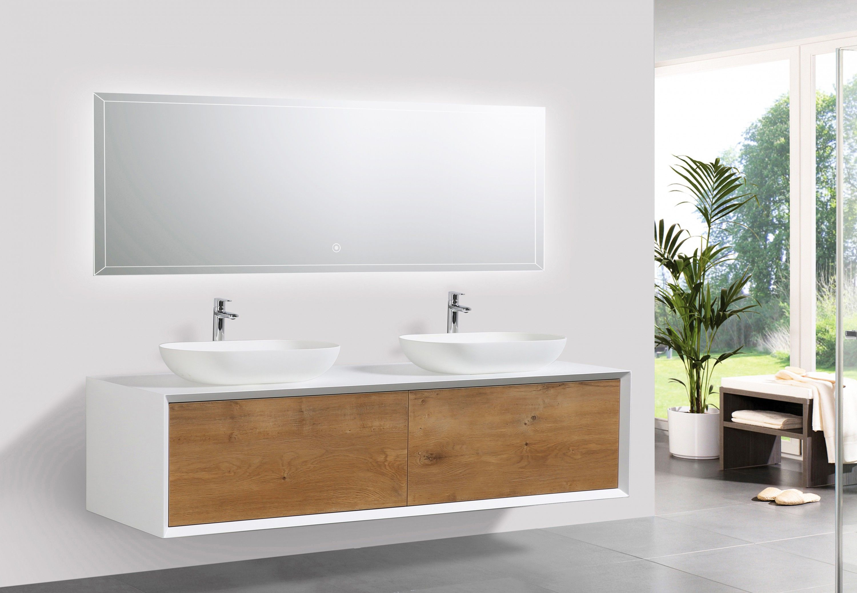 Badmöbel Fiona 1600 Weiß Matt   Front In Eiche Optik   Spiegel Und  Aufsatzwaschbecken Optional