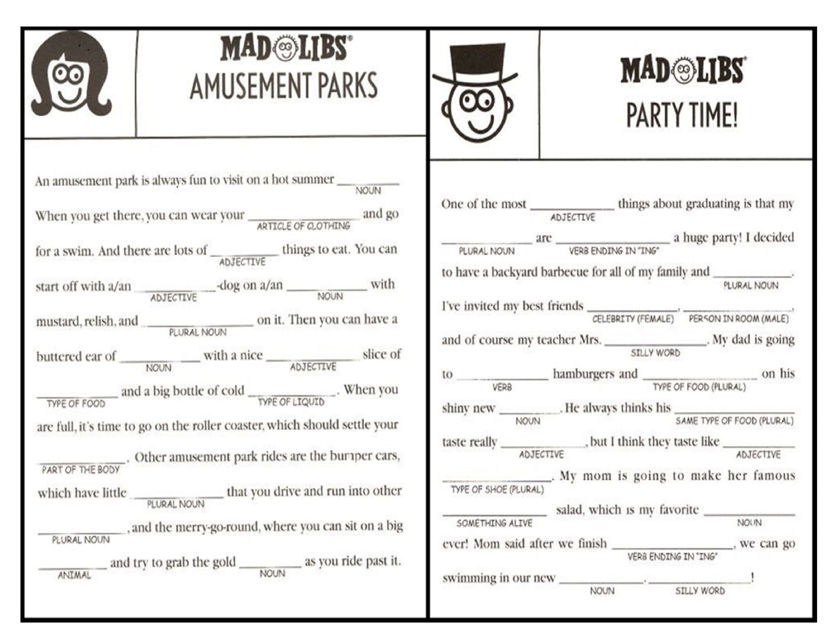It is a picture of Printable Mad Libs Sheets for Adults with regard to 8th grader