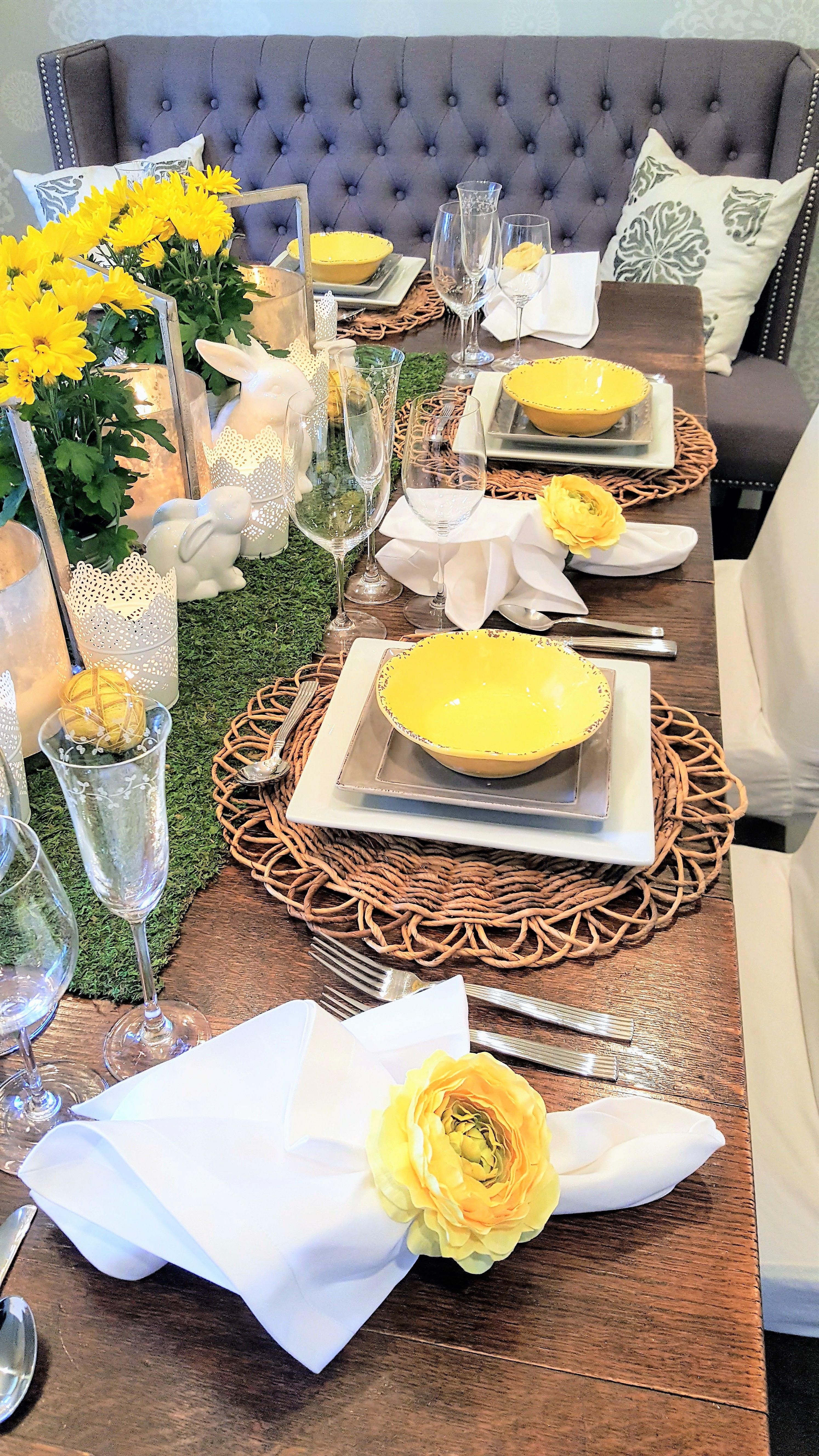 Easter & Yellow Grey and White Easter Table Setting - Home with Holliday ...