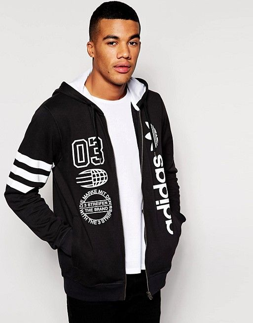 Adidas Originals Logos Zip Up Hoodie Adidas Pinterest