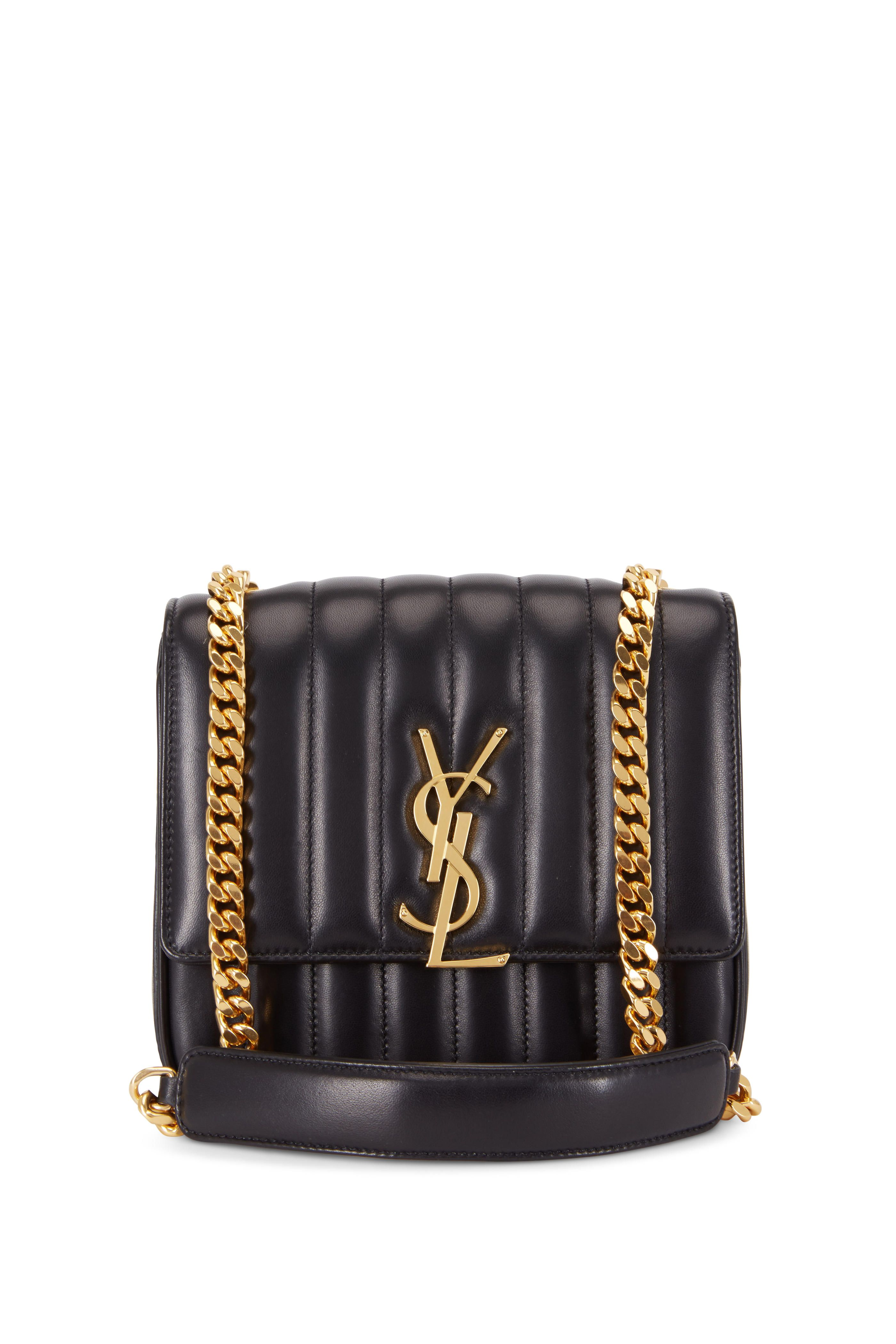 47432d71cb00 Free Shipping on Saint Laurent - Women s Vicky Monogram Black Leather Chain Shoulder  Bag . Shop online   in-store for the latest designer fashions from ...