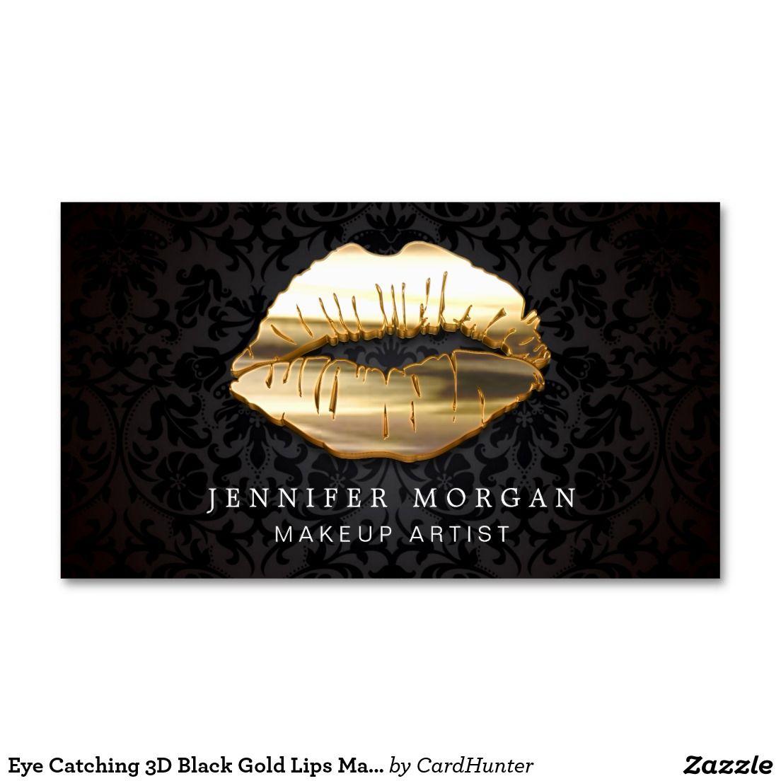 Eye Catching 3D Black Gold Lips Makeup Artist Business Card | Gold ...