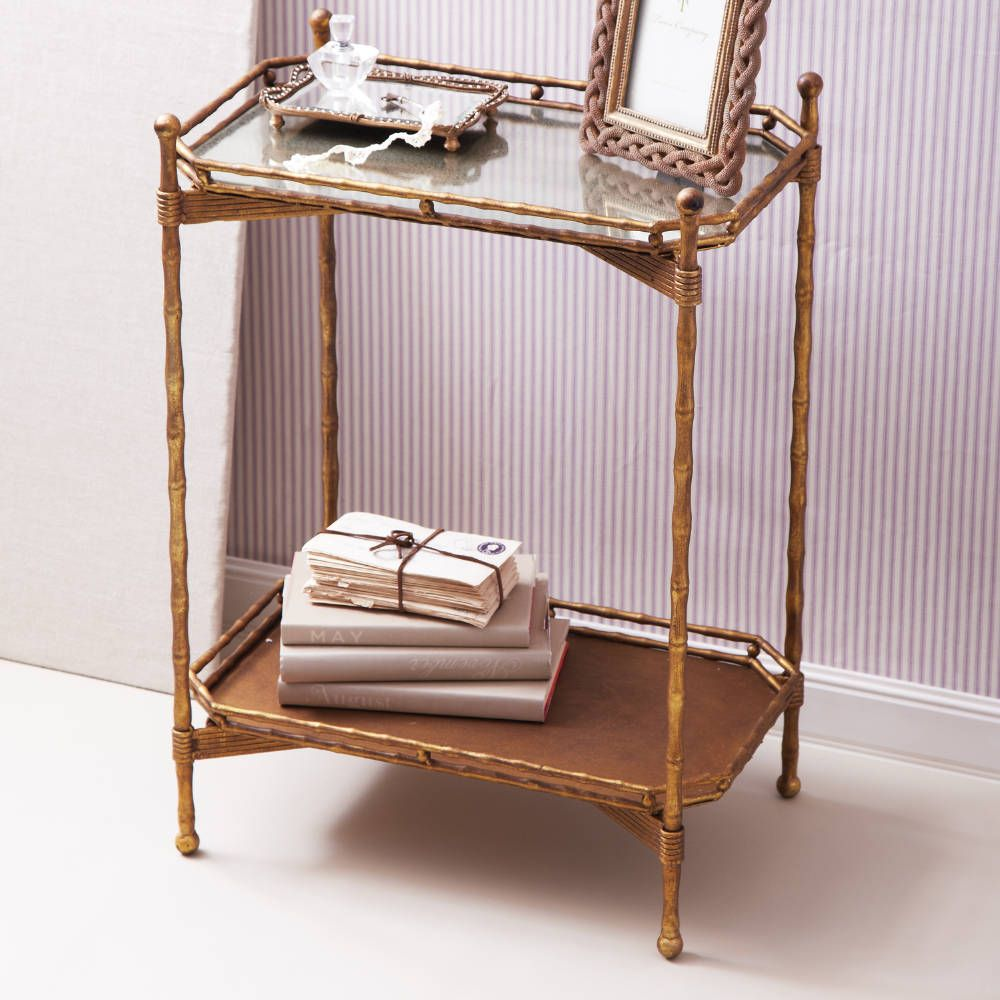 Golden Bamboo 2 Tier Foldable Antiqued Mirror Table With Removable Top Tray