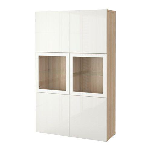BESTÅ Oppbevaringskombi m vitrinedører - hvitbeiset eikemønster/Selsviken høyglanset/hvit klart glass - IKEA