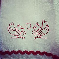 picture, embroidered love birds