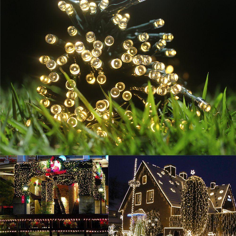 Meikee 100 LED Solar Fairy Lights , 55ft , Warm White ,Outdoor ...