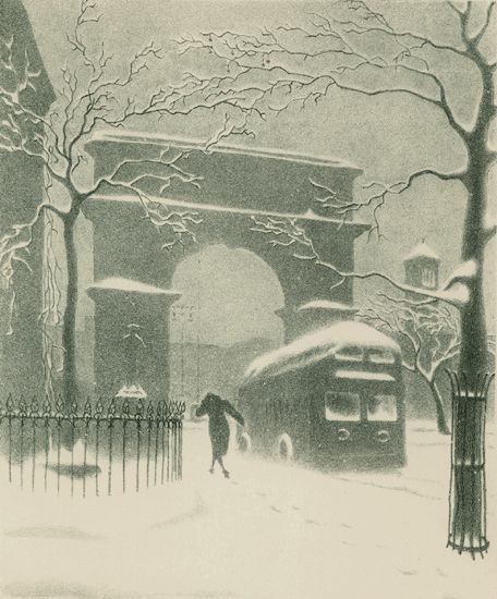 Ellison Hoover, 1888-1955. Washington Arch In Snow (with