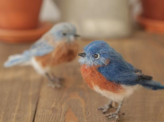 Needle felted Bluebirds