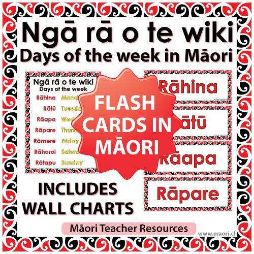 Maori Days of the week Flash Cards / Charts | Language