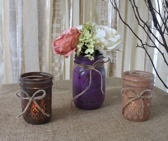 Mason Jars Votive Candle Holders Mason Jar by TheShabbyChicWedding